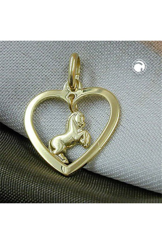 PENDANT HEART WITH HORSE 9K GOLD