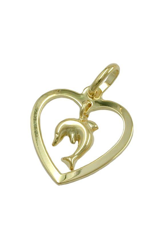 PENDANT HEART WITH DOLPHIN 9K GOLD