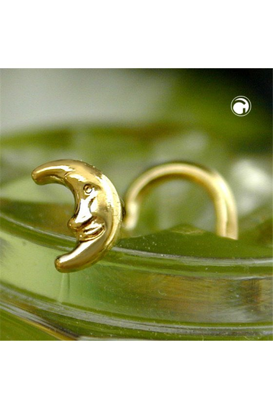 NOSE SCREW LUNE WITH FACE 18KT GOLD