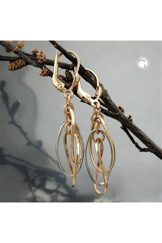 EARRINGS 3 HANGING OVALS 9 K REDGOLD