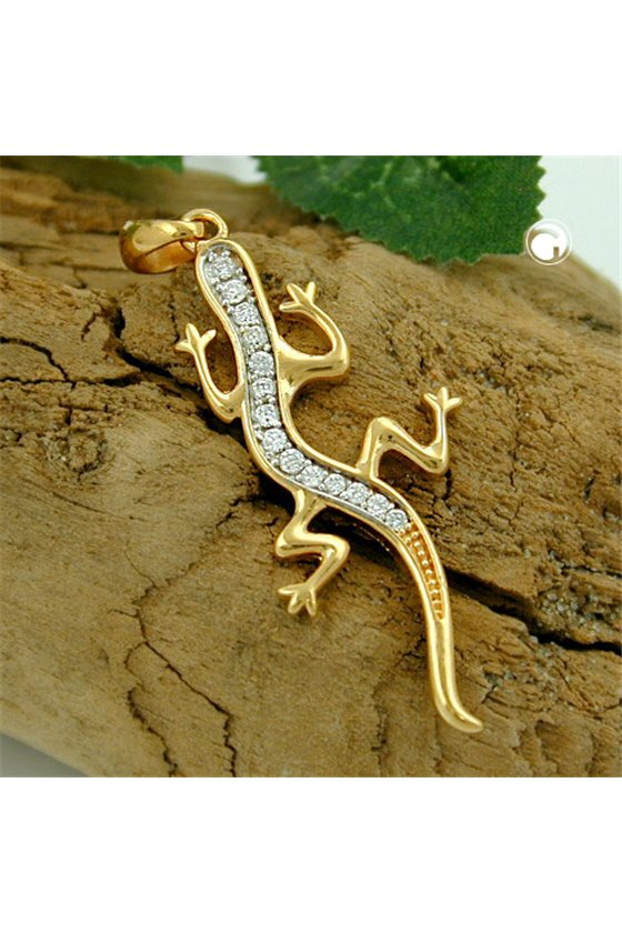 PENDANT LIZARD WITH ZIRCONIA 3 MICRON GOLD-PLATED