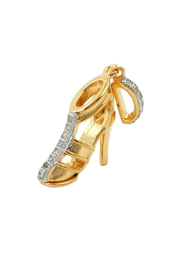 PENDANT HIGHHEEL WITH ZIRCONIA 3 MICRON GOLD-PLATED