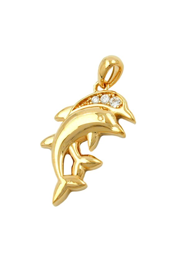 PENDANT DOLPHINS WITH ZIRCONIA 3 MICRON GOLD-PLATED