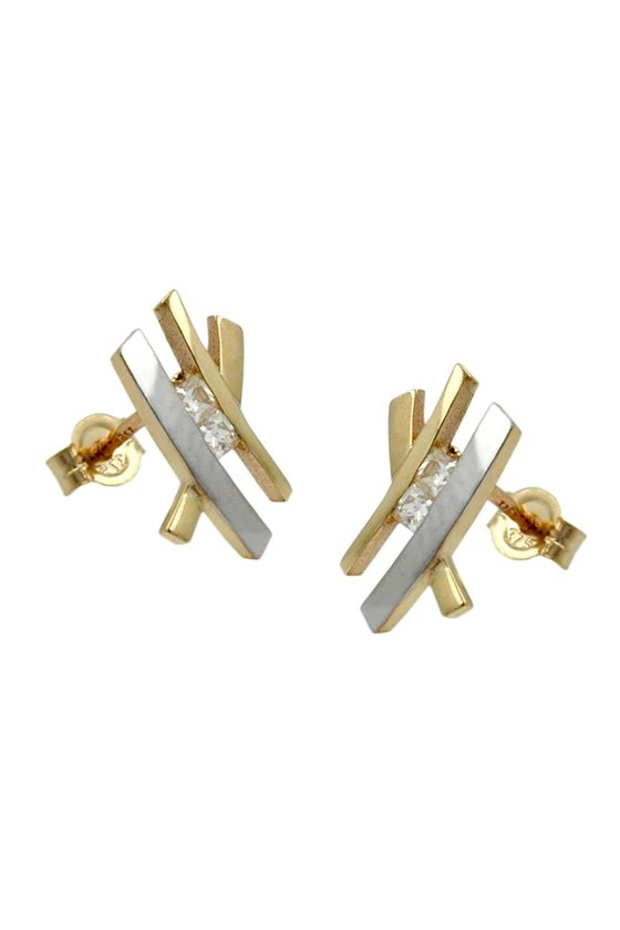 STUD EARRINGS TWO TONE WITH ZIRCONIAS 9K GOLD