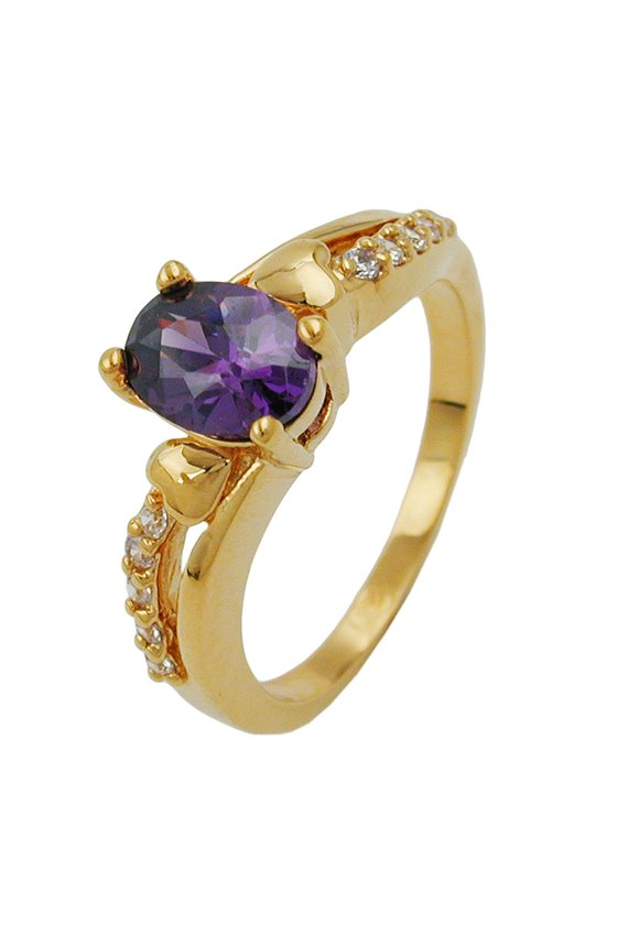 RING WITH ZIRCONIA PURPLE GOLD PLATED 3 MICRON