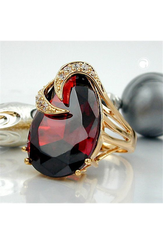 RING WITH ZIRCONIA GARNET RED GOLD PLATED 3 MICRON