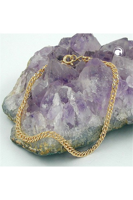 BRACELET TWIN CURB CHAIN GOLD PLATED