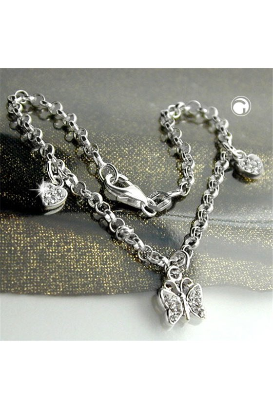 BRACELET HEARTS AND BUTTERFLY SILVER 925