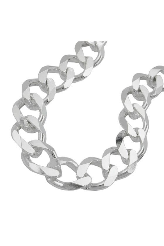 NECKLACE OPEN CURB CHAIN 11MM 925 STERLING SILVER 50CM
