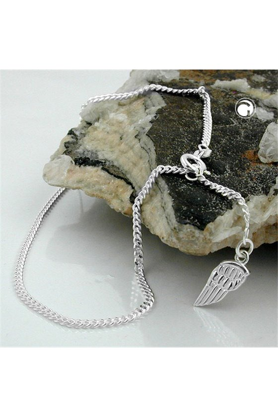 ANKLE CHAIN ANGEL WING TAG SILVER 925 25CM