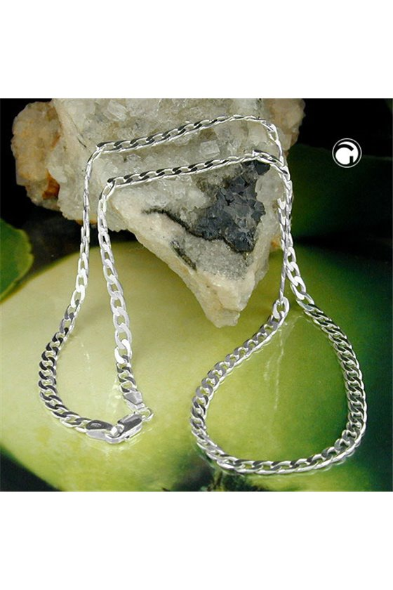 NECKLACE FLAT CURB CHAIN 4 MM SILVER 925 50CM