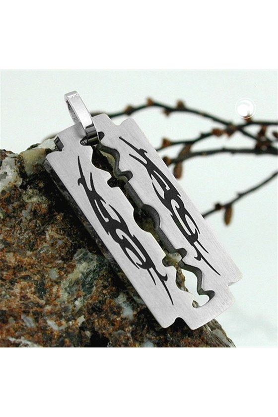 PENDANT FASHION RAZOR BLADE WITH TRIBAL STAINLESS STEEL