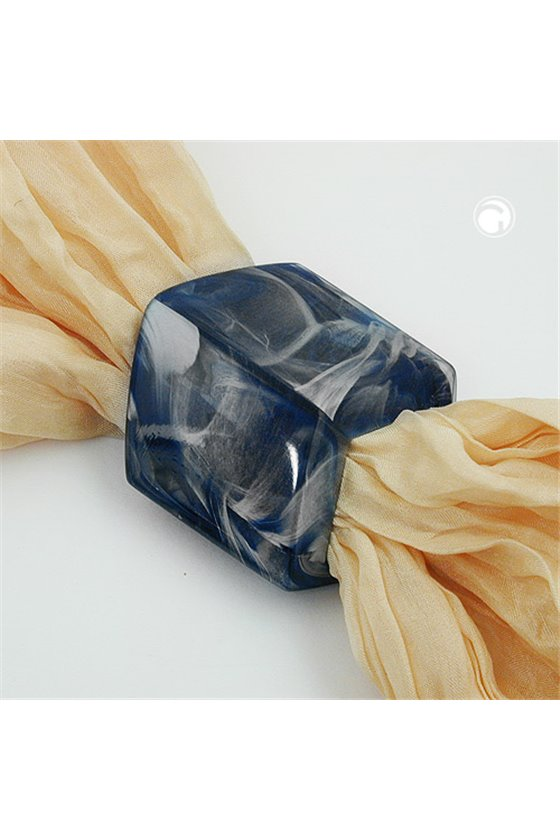 SCARF BEAD SLANTED BLUE MARBLED GLOSSY