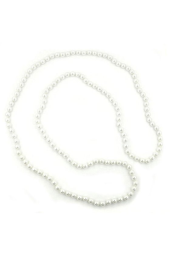 NECKLACE GLASS BEADS WHITE 116CM