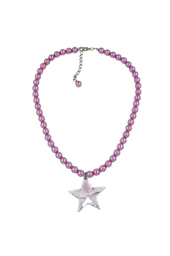 NECKLACE GLASS BEADS STAR PINK 45CM