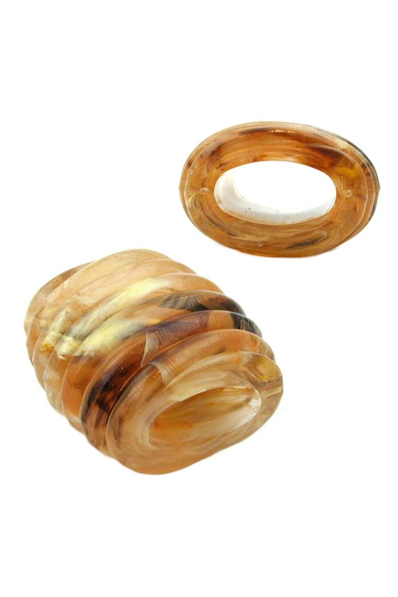SCARF BEAD SPIRAL MARKING HORN YELLOW BROWN
