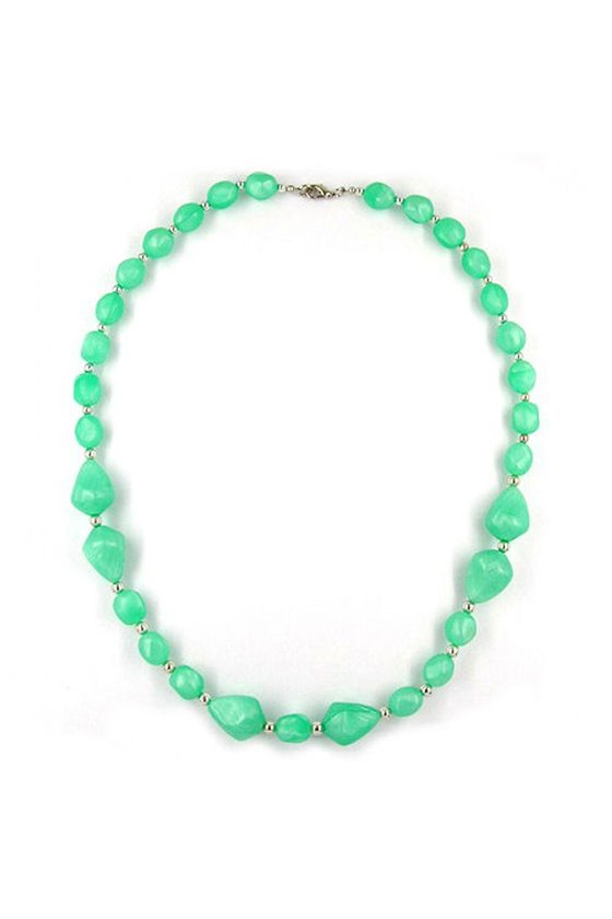 NECKLACE BEADS SILKY-MINT-GREEN 60CM