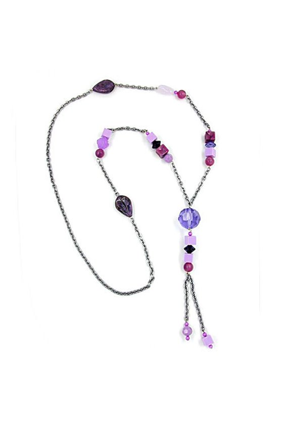 NECKLACE LILAC-PINK PLASTIC BEADS 90CM