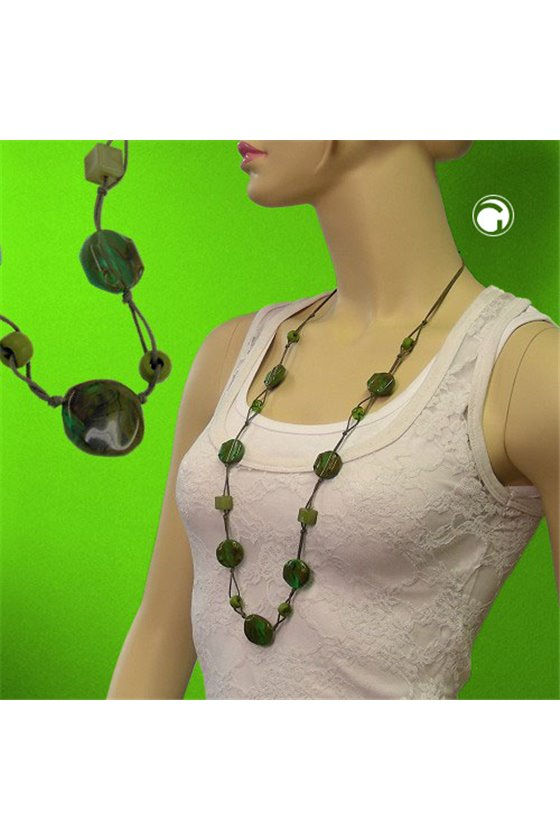 NECKLACE BEADS GREEN-BROWN
