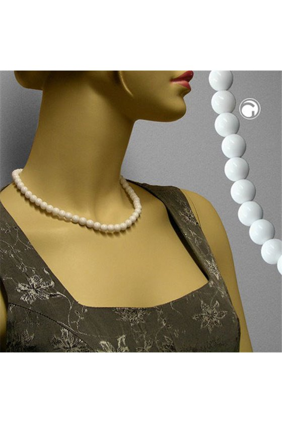 NECKLACE WHITE BEADS 10MM GLOSSY 45CM