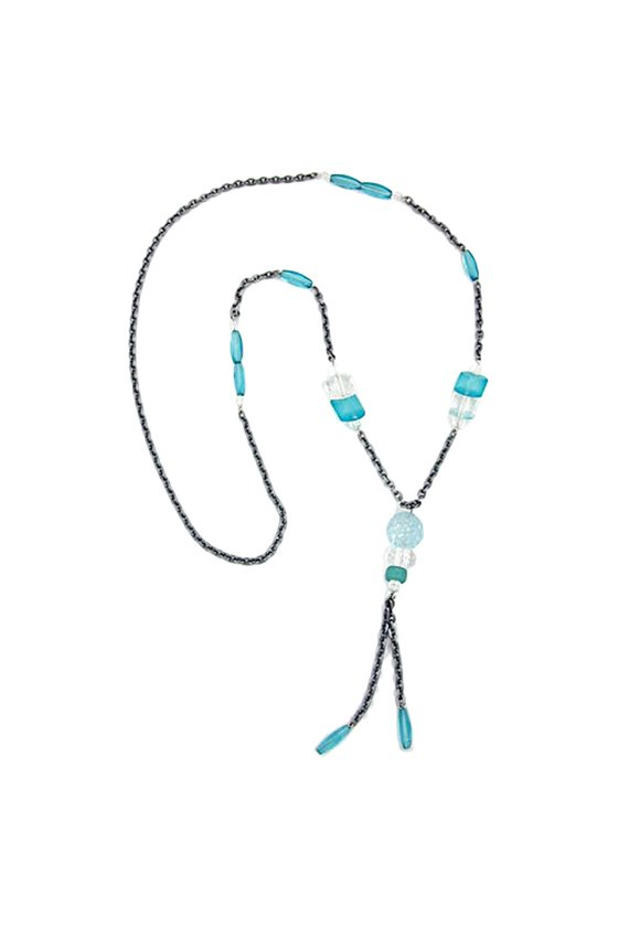 NECKLACE TURQUOISE BEADS 90CM