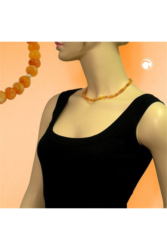 NECKLACE BEADS 6MM AMBER-COLOURED 42CM